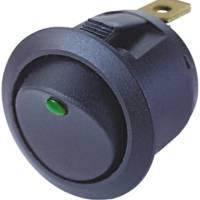 Spínač kolébkový kulatý 12V/10A s podsvícením zelenou LED