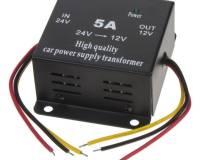 Měnič napětí 24/12V 5A lineární s ACC kabelem