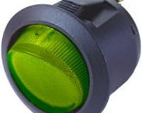 Spínač kolébkový kulatý 12V/10A zelený s podsvícením
