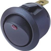 Spínač kolébkový kulatý 12V/10A s podsvícením červenou LED